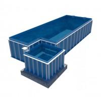 Hồ bơi hình chữ nhật kết hợp jacuzzi【composite frp】