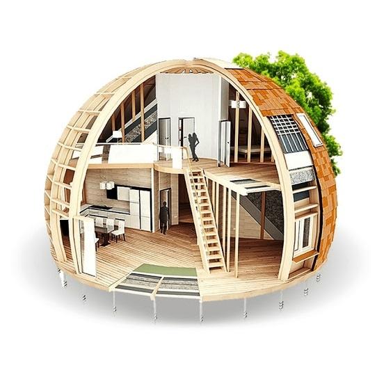 Nhà lắp ghép composite giả gỗ hình bán cầu