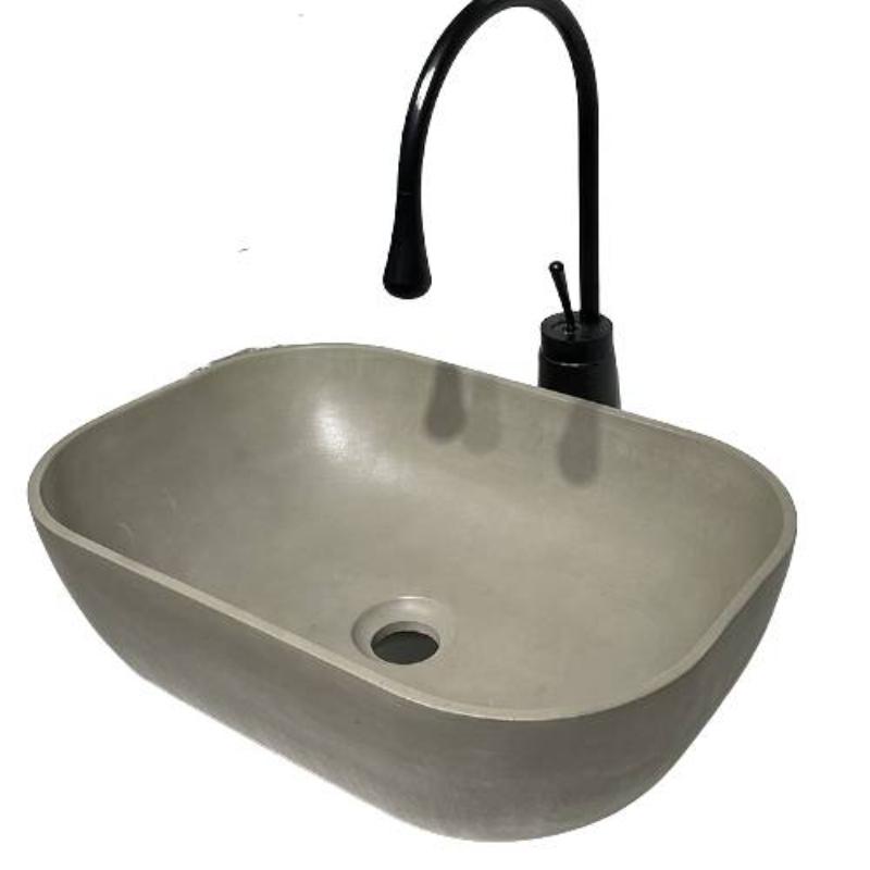 Bồn rửa bêtông nâu xám chất lượng cao hình bầu dục